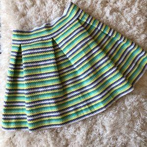Oober Swank Pleated A-Line Mini Skirt Stripe Large